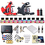 Starter Tattoo Kits-Tattoo Machine Starter Kit 2 cast iron machine liner & shader LCD power supply 2 x stainless steel grip 10 pcs Tattoo Needles