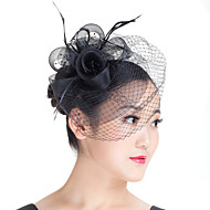 cheap Wedding Headpieces-Imitation Pearl Feather Polyester Fascinators Headpiece Elegant Style