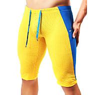 Herre Patchwork Løbeshorts - Gul, Blå, Mørkegrøn Sport Mode Shorts / Tights / Leggins Fitness, Træningscenter Sportstøj Åndbart, Blødhed Elastisk