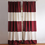 Rod Pocket Grommet Top Tab Top Double Pleated Two Panels Curtain Country Modern Neoclassical Mediterranean Designer , Stripe Living Room