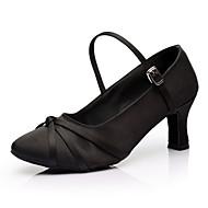 billige Moderne sko-Dame Latin Samba Salsa Sateng Sandaler Innendørs Satengblomst Spenne Kustomisert hæl Svart Kan spesialtilpasses
