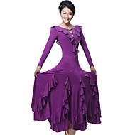 cheap Sale-Ballroom Dance Dresses&Skirts Women's Training Performance Milk Fiber Draping Crystals / Rhinestones Ruffles Long Sleeves Dress