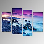 cheap Prints-VISUAL STAR®4 Panel Sunriseon Sea Landscape Canvas Print Beach Picture Print on Canvas Ready to Hang