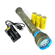 3 Lanternas LED LED 10800 Lumens 3 Modo Cree XM-L2 Sim Resistente ao Impacto Recarregável Impermeável Bisel de Golpe Tático Emergência