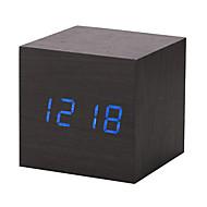 madeira nova moderna de madeira calendário digital levou despertador secretária relógio temporizador termômetro
