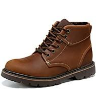 baratos Sapatos Femininos-Unisexo Sapatos Pele Napa Outono Conforto / Botas Cowboy / Country / Botas de Montaria Botas Amarelo / Castanho Claro / Botas da Moda