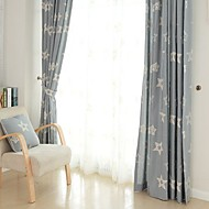 Rod Pocket Grommet Top Double Pleat Two Panels Curtain Country Modern Neoclassical Mediterranean , Embroidery Leaf Bedroom
