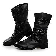 Bărbați Primăvară Toamnă Iarnă Confortabili Piele Birou & Carieră Casual Party & Seară Toc Jos Cataramă Fermoar Negru