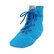billige Jazz-sko-Herre Dame Balett Ballett Dansesko Tekstil Støvler Innendørs Ytelse Profesjonell Trening Flat hæl Blå Kan ikke spesialtilpasses
