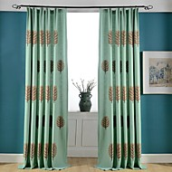 Grommet Top Double Pleated Two Panels Curtain Country Modern Neoclassical Bedroom Poly / Cotton Blend Material Curtains Drapes Home