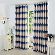Rod Pocket Grommet Top Tab Top Double Pleat Pencil Pleat Two Panels Curtain Mediterranean , Jacquard Curve Polyester Material Curtains