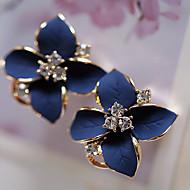 Damskie Kryształ Kolczyki sztyfty Kolczyki drop Kryształ Pozłacany Imitacja diamentu Kolczyki Kwiat damska Moda Biżuteria Biały / Tęczowy Na Impreza Codzienny Casual