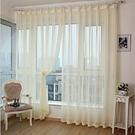 Two Panels Modern Stripe White Yellow Bedroom Polyester Panel Curtains Drapes