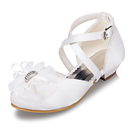 cheap Girls' Shoes-Girls' Shoes Satin Spring & Summer Heels Flower for Casual Outdoor White