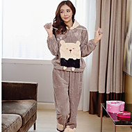 Pijama de flanela de moda feminina, impressão de desenhos animados fofa, encapuzada e fofa