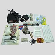 billige Tatoveringssett for nybegynnere-BaseKey Tattoo Machine Startkit - 1 pcs tattoo maskiner med 7 x 10 ml tatovering blekk LED strømforsyning No case 1 x legering tatovering maskin for fôr og skyggelegging