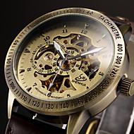 Homens Relógio Esqueleto Relógio de Pulso relógio mecânico Automático - da corda automáticamente Couro Preta / Marrom Gravação Oca Analógico Luxo - Preto Marron