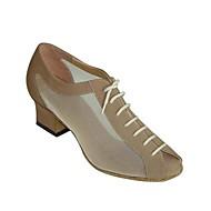 billige Sko til latindans-Dame Moderne sko / Ballett Sateng / Kunstlær Sandaler / Høye hæler Spenne Tykk hæl Kan ikke spesialtilpasses Dansesko Mandel / Svart /