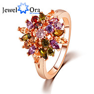 Dames Bandring - Kubieke Zirkonia, Verguld Modieus, Elegant One-Size Goud Rose Voor Feest