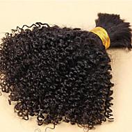 İnsan saç örgüleri Düz Brezilya Saçı Kinky Curly 6 Ay 3 Parça saç örgüleri
