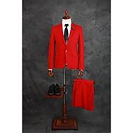 Suits Getailleerd Inkeping Single Breasted een knoops Katoenmix Effen 2-delig Rood Recht met flappen Dubbel (2) Rood Dubbel (2)Knopen /