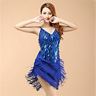 cheap Dancewear & Dance Shoes-Latin Dance Dresses Women's Performance Organza Sequin Tassel Dress