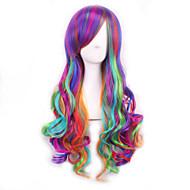Női Szintetikus parókák Géppel készített Göndör Szivárvány Ombre haj Lolita Paróka Halloween paróka Carnival Paróka jelmez paróka