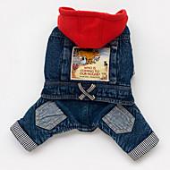 Hund Hættetrøjer Denimjakker Hundetøj Jeans Blå Bomuld Kostume For kæledyr Herre Dame Cowboy