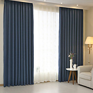 To paneler Window Treatment Moderne , Solid Soverom Lin/Bomull Blanding Materiale gardiner gardiner Hjem Dekor For Vindu