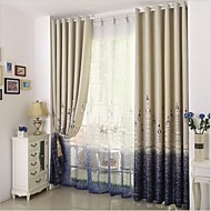 Rod Pocket Grommet Top Tab Top Double Pleated Pencil Pleated Two Panels Curtain Mediterranean Bedroom Polyester Material Curtains Drapes