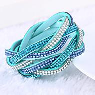 Žene Koža Umjetno drago kamenje Imitacija dijamanta Others Zamotajte Narukvice - Luksuz Jedinstven dizajn Više slojeva Zelen Plava