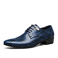 גברים נעליים דמוי עור אביב קיץ סתיו חורף נוחות נעלי אוקספורד שרוכים עבור קזו'אל מסיבה וערב שחור כחול