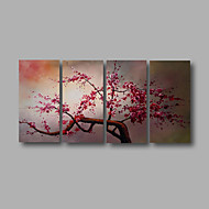 Ready to Hang Stretched Hand-painted Oil Painting 4 pieces Canvas Wall Art Modern Pink Blosssom Flowers Home Deco