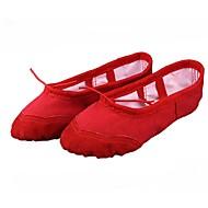 baratos Sapatilhas de Dança-Crianças Balé Lona Sapatilha Espetáculo Iniciante Ensaio/Prática Sem Salto Preto Branco Vermelho Rosa Bege Não Personalizável