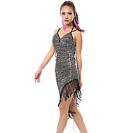 cheap Dancewear & Dance Shoes-Latin Dance Dresses Women's Performance Polyester Spandex Sequin Dress