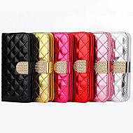 Case For Apple iPhone 6 iPhone 6 Plus Card Holder Wallet Rhinestone with Stand Flip Full Body Cases Solid Color Hard PU Leather for