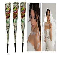 billige Midlertidig maling-3 pcs Henna-tuber Midlertidige Tatoveringer Ikke Giftig Kropskunst Ansigt / hænder / arm