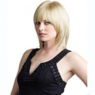 halpa -Naisten Synteettiset peruukit Koneella valmistettu Keskikokoinen Suora Vaaleahiuksisuus Otsatukalla puku Peruukit