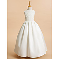 cheap -A-Line Ankle Length Flower Girl Dress - Lace / Satin Sleeveless Jewel Neck with Lace by LAN TING BRIDE®