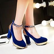 baratos Sapatos Femininos-Mulheres Sapatos Courino Primavera / Verão Salto Robusto Mocassim Preto / Vermelho / Azul / Casamento