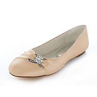 baratos Sapatos Femininos-Mulheres Tecido elástico Primavera / Verão Sem Salto Cristais Rosa claro / Azul Real / Champanhe / Casamento / Festas & Noite