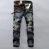 Herre Plusstørrelser Afslappet Uelastisk Jeans Bukser, Alm. taljede Bomuld Polyester Ensfarvet Alle årstider