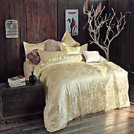 cheap High Quality Duvet Covers-Duvet Cover Sets Floral 4 Piece Faux Silk Jacquard Faux Silk 4pcs (1 Duvet Cover, 1 Flat Sheet, 2 Shams)