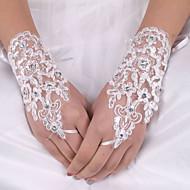 billiga Brudhandskar-Siden Elastisk satäng Handledslängd Handske Brudhandske With Rosett