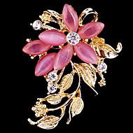 Dame Brocher Blomst Damer Fest Kontor Afslappet Mode Krystal Kvadratisk Zirconium Opal Broche Smykker Lys pink Til Bryllup Fest Speciel Lejlighed Jubilæum Fødselsdag