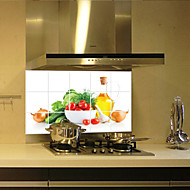 Fruits and vegetables Aluminum Copper Waterproof Foil Sticker Oil Proof Kitchen Wall Paper Decal Decoration