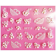 1 pcs 3D Negle Stickers Blonde klistermærker Negle kunst Manicure Pedicure Abstrakt / Mode Daglig / Lace Sticker / 3D Nail Stickers