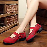 Modern Women's Dance Shoes Sneakers Velvet Low Heel Black/Red