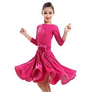 الرقص اللاتيني الفساتين أداء مخمل زهور فستان