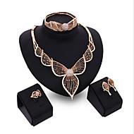 Mulheres Zircônia Cubica / Rosa Folheado a Ouro Formato de Folha Conjunto de jóias Bracelete / Brincos / Colares - Punhos / Vintage /